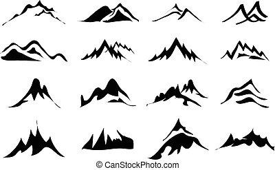 montanhas, jogo, ícones