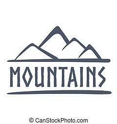 montanhas, logotipo, ilustração, vetorial