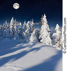 montanhas, moon., cheio, paisagem inverno