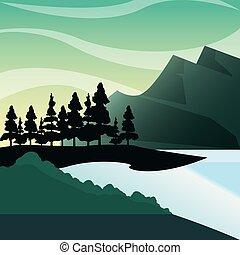 montanhas, natural, lago, pinho, bush, floresta, paisagem