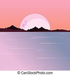 montanhas, natural, lua, noturna, paisagem rio