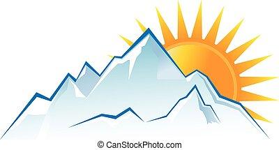 montanhas, pôr do sol, logotipo