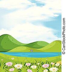 montanhas, rio, cena, fundo