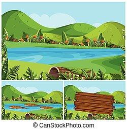montanhas, rio, cenas, natureza