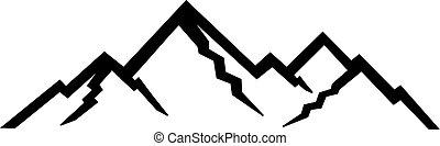 montanhas, silhuetas, pico