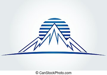 montanhas, sol, vetorial, ícone, logotipo