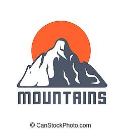 montanhas, sol, vetorial, logotipo, ícone, ilustração