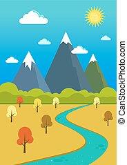 montanhas, vale, natural, paisagem rio