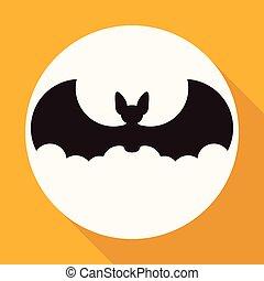 morcego, branca, longo, círculo, sombra, ícone