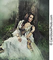 morena, beleza, antiquado, floresta, deslumbrante, vestido