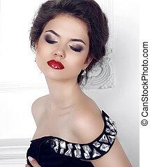 morena, beleza, makeup., fa, posar, retrato, excitado, menina, modelo