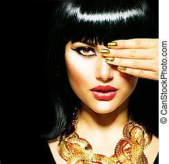 morena, egípcio, beleza, woman., dourado, acessórios