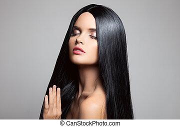 morena, girl., beleza, hair., modelo, saudável, longo, w, bonito