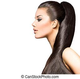 morena, hairstyle., beleza, moda, menina, modelo, rabo-de-cavalo