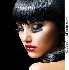 morena, menina, close-up, moda, retrato