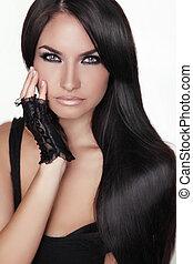 morena, menina, girl., beleza, hair., modelo, woman., isolado, retrato, hairstyle., saudável, experiência., longo, bonito, branca