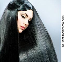 morena, menina, hair., longo, direito, bonito