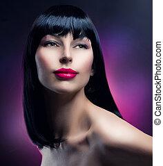 morena, menina, moda, portrait., modelo, hairstyle., bonito