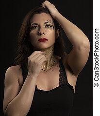 morena, modelo, portrait., penteado, moda