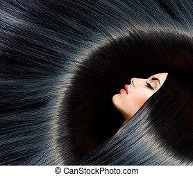 morena, mulher, beleza, pretas, hair., saudável, longo