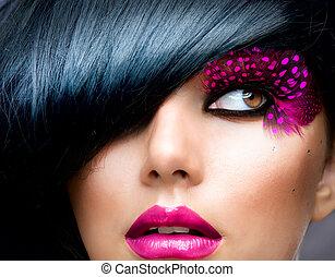 morena, penteado, moda, portrait., modelo