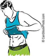 mostrando, condicão física, abdominal, muscl, homem