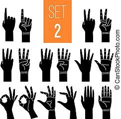 mostrando, gesto, ícones, jogo, mãos, mulher, glyph