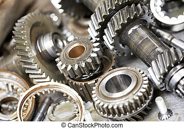motor, automóvel, close-up, engrenagens