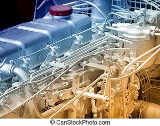 motor, automóvel, detalhe