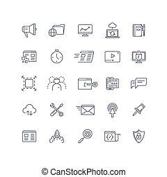 motor, busca, jogo, serviço, ícones, vetorial, seo, linha, optimization