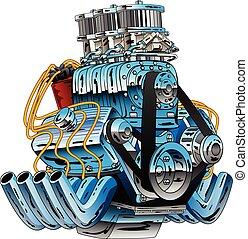 motor carro, vetorial, vara, raça, quentes, caricatura, dragster, ilustração