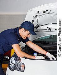 motor, examinando, loja, reparar, mecânico carro