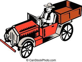 motorista, cima, caminhão, woodcut, pico, vindima