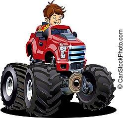 motorista, monstro, isolado, caricatura, branca, caminhão