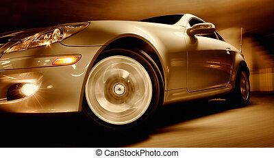 movimento, car, borrão, rapidamente, esportes