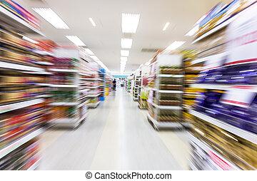 movimento, vazio, borrão, corredor, supermercado