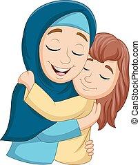 muçulmano, filha, abraçando, dela, mãe