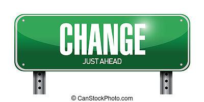 mudança, desenho, estrada, ilustração, sinal