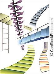 muitos, diferente, escadas
