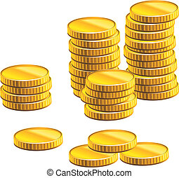muitos, moedas, ouro