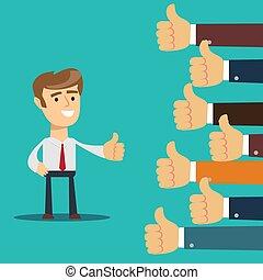 muitos, negócio, -, polegar cima, mãos, sinal, cima., homem, polegares, dar