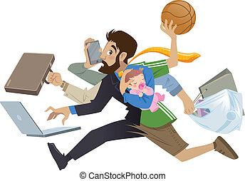 muitos, super, ocupado, caricatura, homem, multitask, pai, trabalhos
