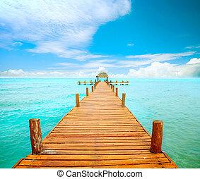 mujeres, méxico, jetty, concept., férias, isla, turismo