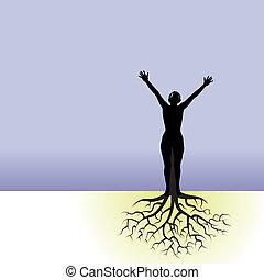 mulher, árvore, raizes