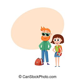 mulher, óculos de sol, junto, mochila, turistas, viajar, homem