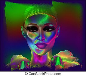 mulher, abstratos, rosto
