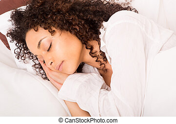mulher, africano, slepping