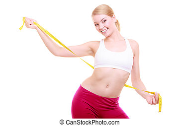 mulher, ajustar, condicão física, isolado, fita, diet., medida, menina