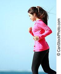 mulher, algum, tendo, exercício
