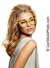 mulher, amarela, óculos
